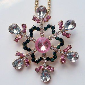 ❤️ NEW Clear & Pink Rhinestone Snowflake Necklace